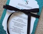 Glitter bow wedding invitation