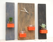 Unique wall clock, rustic wall clock, wooden 3 piece set with succulent planters and candle holders, wall scones