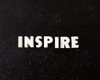 "Vintage White Ceramic Push Pins ""INSPIRE"" - Bulletin Board Decor, Altered Art Supply, and more"