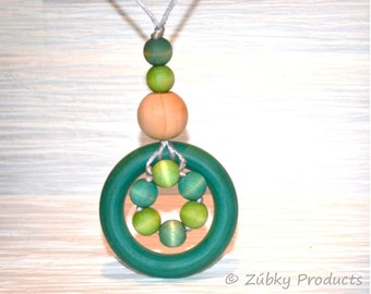 Wooden Teething Necklace by Zúbky for Nursing and Breastfeeding Mothers - Turquoise Green Ocean Hues