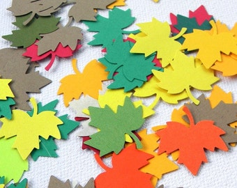 Confetti- 150+  paper leafs in a fall color mix - great for Thanksgiving - fall weddings -  party confetti - scrap booking -