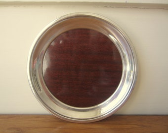 Vintage round 1960s silver and formica Crescent tray.  Rare smaller tray.