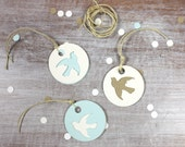 6 Mix & Match Dove Die Cut Holiday Christmas Gift Tags // Blue White Brown // Round