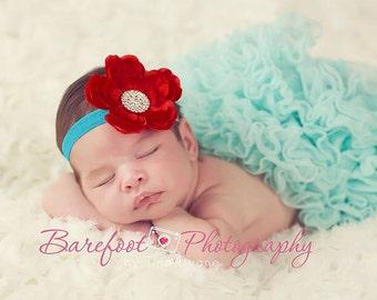 Baby Headband..Baby Girl Headband..Red and Turquoise Headband..Red Headband Baby Girl..Christmas Headband..Red and Teal Headband..Newborn
