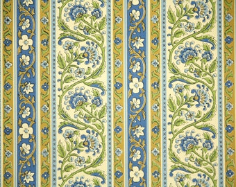 Retro Wallpaper by the Yard 70s Vintage Wallpaper - 1970s Blue and Green Floral Stripe