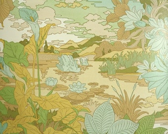 Retro Wallpaper by the Yard 70s Vintage Wallpaper - 1970s Swan on Lake Bathroom Wallpaper with Yellow and Green Botanical