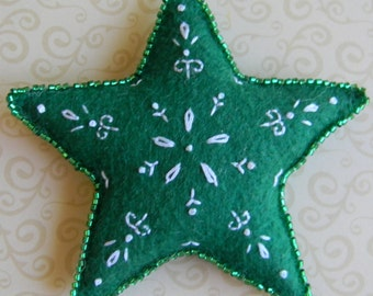 white and green Christmas star ornament