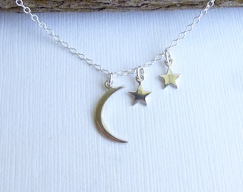 Sterling Silver Moon and Two Stars Necklace --  Mothers Necklace  -- Mother of Two