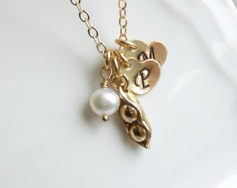 Gold Two Peas in a Pod Initial Necklace -- Personalized Hearts -- 14K Gold Filled Chain --  Mothers - Friendship