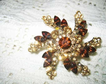 Vintage Swirling Twirling Rhinestone Snowflake Brooch Light & Dark Topaz