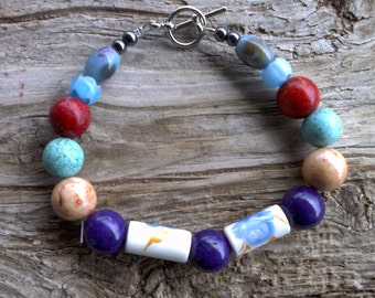 Ceramic,stone,glass beaded bracelet 8 inch