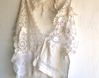 Shabby white vintage lace fairy fairie ivory rustic fashion farm mother of bride tattered shawl
