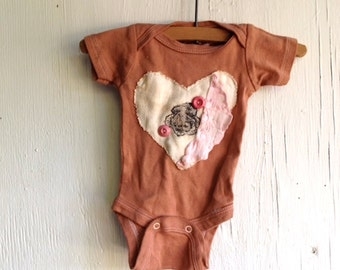 Winter  mocha soft brown shower gift hand dyed heart vintage linen buttons pink girl rustic onesie prairie baby ooak baby