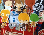 DIY Print at HOME Star Wars Party - Centerpiece Sticks- Table Topper - Birthday Party - Baby Shower -Skywalker - R2D2 - C3PO -Set of 8