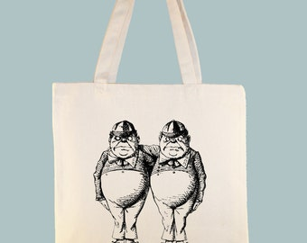 Tweedle Dee and Tweedle Dum Alice in Wonderland Original Illustration on black or natural Canvas Tote  - selection of sizes available