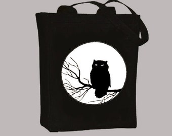 Vintage Owl on Branch Black or Neutral Canvas Tote  -- selection of sizes available