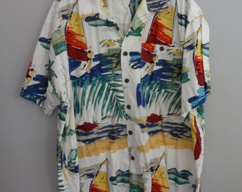 Island Fever 80s Surfer Beach Island Print Shirt Men's 3X