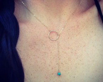 SALE! Gold-filled or Sterling Silver Circle & Turquoise Y Necklace/Lariat Style, Edgy, Tiny Turquoise Stone Finish (other stones available)