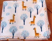 Baby Boy Single Layer Receiving Blanket - Modern Flannel Swaddling Blanket with Orange Giraffes - Ready to Ship