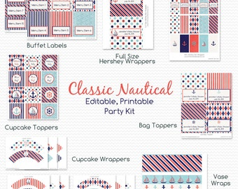 Classic Nautical Baby Shower, Printable Party Package, Birthday Party Supplies, Sailboat Party Kit -- Editable, Printable, Instant Download