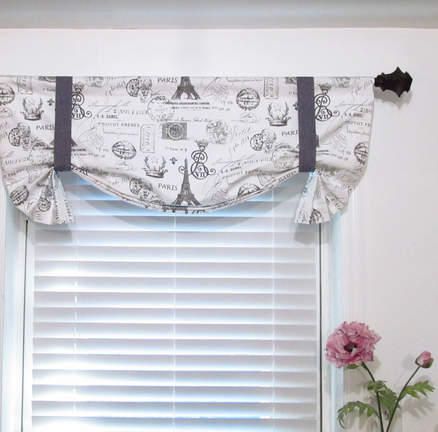 Tie Up Valance French Stamp Eiffel Tower Charcoal White