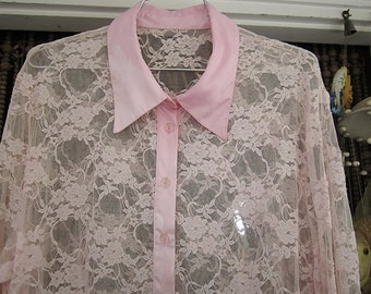 Pearly-Pink Floral Lace & Satin  Long Sleeves Blouse, Vintage - Large
