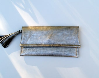 Silver Metallic Leather Envelope Clutch Handbag with Tassel