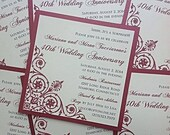 Ruby  Elegance Square 40th Anniversary Invitation-Sample Listing