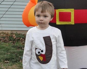 Personalized initial turkey shirt