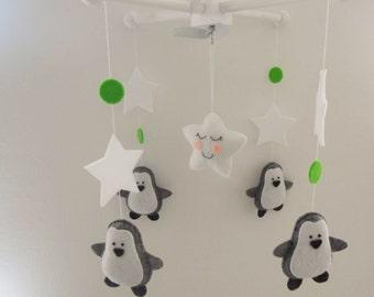 Baby Crib Mobile-Penguins Mobile-custom Made Mobile-Gray and White Nursery Mobile