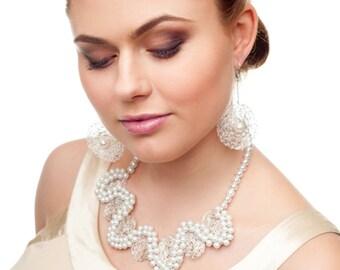 Unique bridal or special occasion pearl necklace.  Handmade pearl necklace. Designer pearls necklace. Bridal pearl necklace.