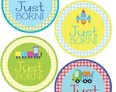 ADD ON Just Born Stickers for Baby, Just Born Stickers  - Transportation - Just Born Stickers -Baby Shower Gift - Baby