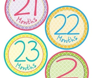 Quatrefoil Monthly Bodysuit Stickers - Perfect for Baby Photo Props - Bodysuit Stickers 13-24 Months