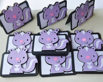 10 Purple Skunk Animal Treat Bag Toppers, Treat Toppers, Treat Bag Centerpiece, Baby Shower, Birthday