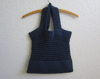 Large Cotton Crochet Tote in Midnight Blue - Eco-Friendly