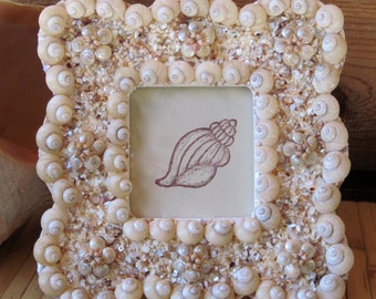Scalloped Pearly Cream Seashell Picture Frame