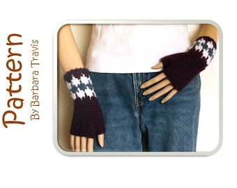 Crochet Pattern Fingerless Gloves in 2 Sizes S/M and L/XL