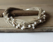 Multistrand pearl  necklace / wedding necklace / natural linen necklace