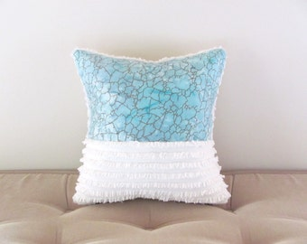 aqua pillow cover OCEAN VIEW beach cottage chic  12 X 12 inches turquoise pillow aqua cushion cover shabby style nautical pillow