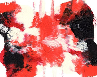 "Original Painting - 5"" x 7"" - Abstract - Orange, Red, Black and Ecru Acrylic Painting - 2014-93"