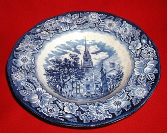 Historical Liberty Blue Transferware Wide Rim Soup Bowl Salad Plate Old North Church