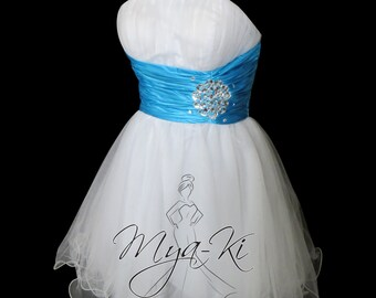 White Turquoise pleated strapless ball gown Knee Length prom formal dress (MKP17)