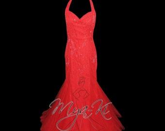Red Halter backless mermaid prom formal dress (MKP5)