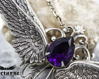 Gothic Amethyst Necklace - Angel Wings Necklace with Glass Gem - Victorian Gothic Jewelry
