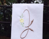 Monogram Hand Towel Natural Linen Guest Towel Initial Personalized Any Color Letter Great Hostess Bridesmaid Wedding Gift