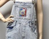 Vintage 80s cut off Acid wash Distressed Denim Shortalls/Overalls Shorts - Sz  Large
