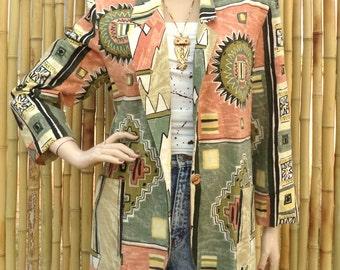 Fabulous Cotton & Flax Southwestern Tribal Aztec Blazer  Jacket  Sz 12---44 chest