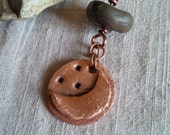 maiden goddess crescent moon copper pendant with smoke fired clay bead