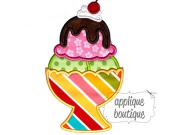 INSTANT DOWNLOAD, Machine Applique Design, Ice Cream Sundae