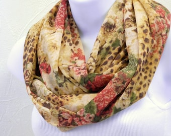 Glowing Animal Print Infinity Scarf Gold Red Sage Green Animal Floral Knit Scarf Handmade by Thimbledoodle